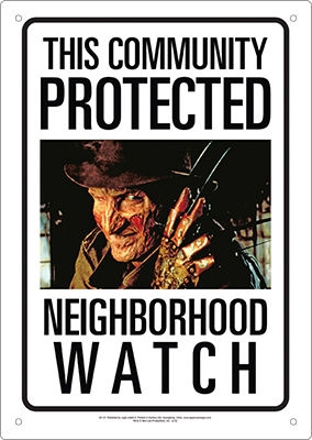 Freddy Krueger Neighborhood Watch Sign from A Nightmare on Elm Street