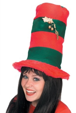 Christmas Top Hat.Striped Christmas Top Hat