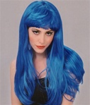 Long Blue Glamour Costume Adult Wig