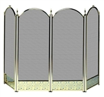 UniFlame S-2115 4 Fold Polished Brass Finish Screen with Decorative Filigree