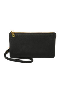 S24-4-1-005BK- LEATHER WALLET WITH DETACHABLE WRISTLET - BLACK/3PCS