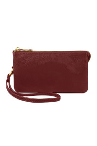 S24-5-1-005BU- LEATHER WALLET WITH DETACHABLE WRISTLET  - BURGUNDY /3PCS