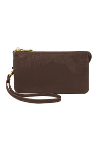 S24-5-1-005CF- LEATHER WALLET WITH DETACHABLE WRISTLET - COFFEE /3PCS