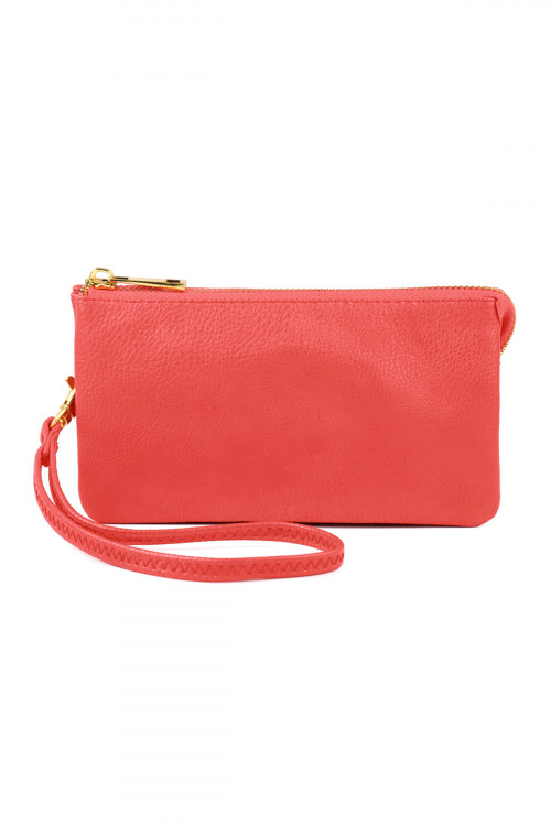 S24-5-1-005PK- LEATHER WALLET WITH DETACHABLE WRITSLET - CORAL PINK/3PCS