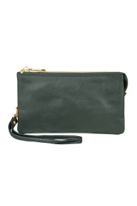 S24-5-1-005DKGREEN  - LEATHER WALLET WITH DETACHABLE WRISTLET - DARK GREEN/3PCS