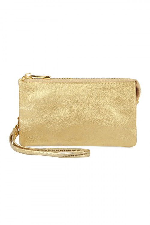 S24-5-1-005GD- LEATHER WALLET WITH DETACHABLE WRISTLET  - GOLD /3PCS