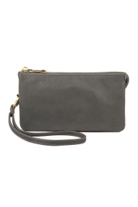 S24-5-1-005GY- LEATHER WALLET WITH DETACHABLE WRISTLET  - GRAY /3PCS