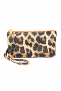 S24-5-1-005LEO - LEATHER WALLET WITH DETACHABLE WRISTLET -LEOPARD /3PCS