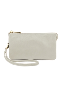 S24-4-1-005LGREY- LEATHER WALLET WITH DETACHABLE WRISTLET  - LIGHT GREY/3PCS