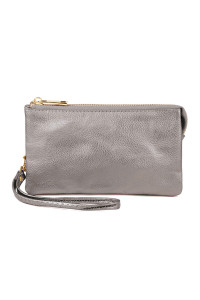 S24-5-1-005LSL- LEATHER WALLET WITH DETACHABLE WRISTLET  - LIGHT SILVER/3PCS