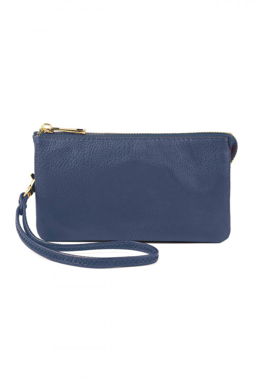 S24-3-1-005NV-BL- LEATHER WALLET WITH DETACHABLE WRISTLET  - NAVY /3PCS