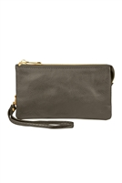 S24-4-1-005PEWTER- LEATHER WALLET WITH DETACHABLE WRISTLET - PEWTER/3PCS/6PCS