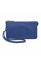 S24-5-1-005RBL- LEATHER WALLET WITH DETACHABLE WRISTLET  - ROYAL BLUE /3PCS