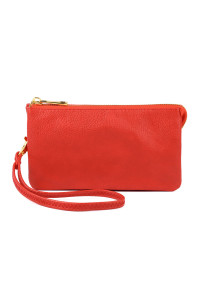 S24-5-1-005RD- LEATHER WALLET WITH DETACHABLE WRISTLET  - RED /3PCS