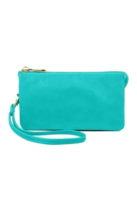 S24-4-1-005TQ- LEATHER WALLET WITH DETACHABLE WRISTLET - TURQUOISE/3PCS
