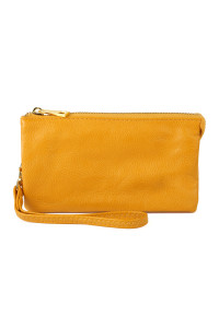 S24-4-1-005YE- LEATHER WALLET WITH DETACHABLE WRISTLET  - YELLOW /3PCS
