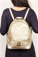 S3-9-2-10088RSG -FAUX LEATHER MINI BACKPACK - ROSE GOLD/3PCS