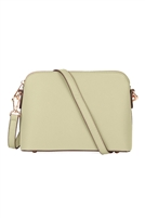 S18-9-1-10119LT-BE - FAUX SAFFIANO CROSSBODY BAG LIGHT BEIGE/1PC