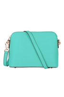 S18-9-1-10119TQ - FAUX SAFFIANO CROSSBODY BAG TURQUOISE/1PC
