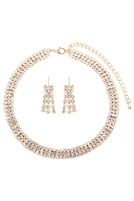 S25-8-4-15370CR-G - TRIPLE LINE CHOKER NECKLACE AND EARRING SET - GOLD/6PCS