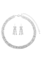 S25-8-4-15370CR-S - TRIPLE LINE CHOKER NECKLACE AND EARRING SET - SILVER/6PCS