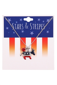 S1-7-2-15824LSI-S - USA FLAG DEMOCRATS DONKEY NECKLACE - SILVER/6PCS