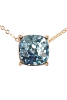 S6-5-4-A16355AQG AQUA CUSHION CUT GLITTER NECKLACE/6PCS