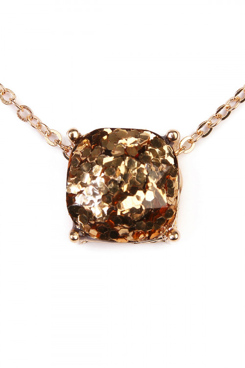 A1-2-4-A16355LPEG GOLD CUSHION CUT GLITTER NECKLACE/6PCS