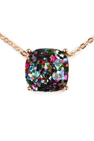 S5-5-2-A16355MUG MULTICOLOR GOLD CUSHION CUT GLITTER NECKLACE/6PCS