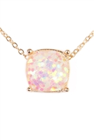 S6-5-4-A16355WHG WHITE CUSHION CUT GLITTER NECKLACE/6PCS