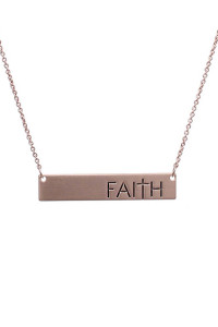 SA4-3-3-A16428RG ROSE GOLD BAR FAITH MATTE NECKLACE/6PCS
