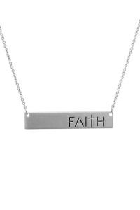 SA4-2-4/S25-1-2-A16428S SILVER BAR FAITH MATTE NECKLACE/6PCS