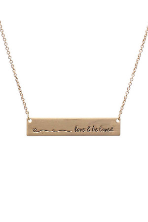 SA4-2-4-A16430VG GOLD BAR LOVE AND BE LOVED NECKLACE/6PCS