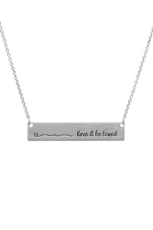 SA4-2-4-A16430VS SILVER BAR LOVE AND BE LOVED NECKLACE/6PCS