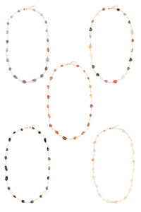 SA3-3-4-A16678MIX ASSORTED NATURAL STONE WIRE WRAP NECKLACE/6PCS