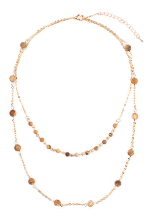 S4-6-3-A16724LCT-G BROWN GOLD NATURAL STONE LAYERED NECKLACE/6PCS