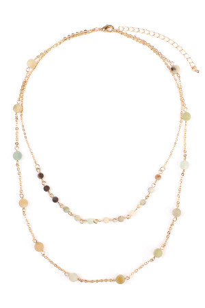 S4-6-3-A16724POM-G GOLD MULTI NATURAL STONE LAYERED NECKLACE/6PCS