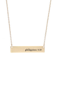 S25-7-2-16740G-PHILIPPIANS 4:13 BAR NECKLACE-GOLD/6PCS