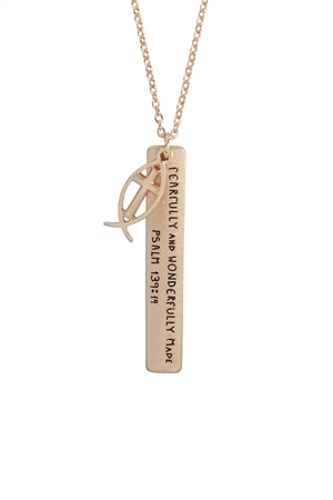 "S19-10-4-17159-WG- MESSAGE ""FEARFULLY"" CHARM PENDANT NECKLACE/6PCS"