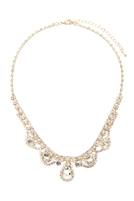 S25-83-17293CR-G - ELEGANT BRIDAL CUBIC ZIRCONIA NECKLACE AND EARRING SET - CRYSTAL GOLD/6 SETS