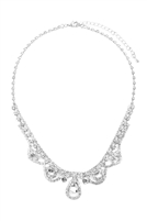 S25-8-3-17293CR-S - ELEGANT BRIDAL CUBIC ZIRCONIA NECKLACE AND EARRING SET - CRYSTAL SILVER/6 SETS