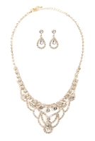 S25-8-3-17294CR-G - ELEGANT BRIDAL CUBIC ZIRCONIA NECKLACE AND EARRINGS SET - CRYSTAL GOLD/6SETS
