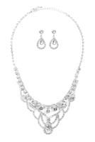 S25-8-3-17294CR-S - ELEGANT CUBIC ZIRCONIA NECKLACE AND EARRINGS SET - CRYSTAL SILVER/6SETS