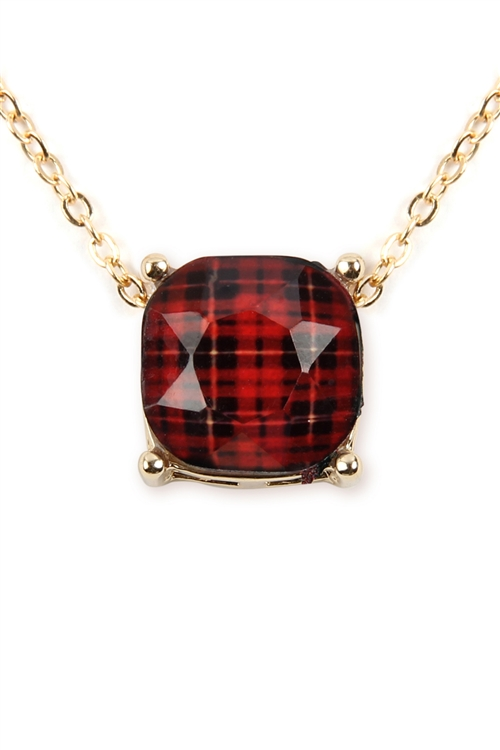 A3-2-4-17299SIM-G- BUFFALO CHECKERED CHAIN NECKLACE - RED/6PCS
