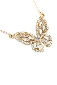 S1-4-4-17346CR-G - BARGUETTE BUTTERFLY NECKLACE - GOLD/6PCS