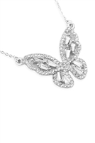 S1-4-3-17346CR-R - BARGUETTE BUTTERFLY NECKLACE - SILVER/6PCS