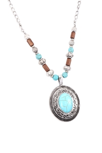 S1-4-3-17407TQ-BS   - AZTEC OVAL SHAPE TURQUOISE PENDANT NECKLACE - BURNISH SILVER/6PCS