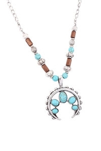 S1-4-3-17409TQ-BS - AZTECS QUASH BLOSSOM TURQUOISE NECKLACE - BURNISH SILVER/6PCS