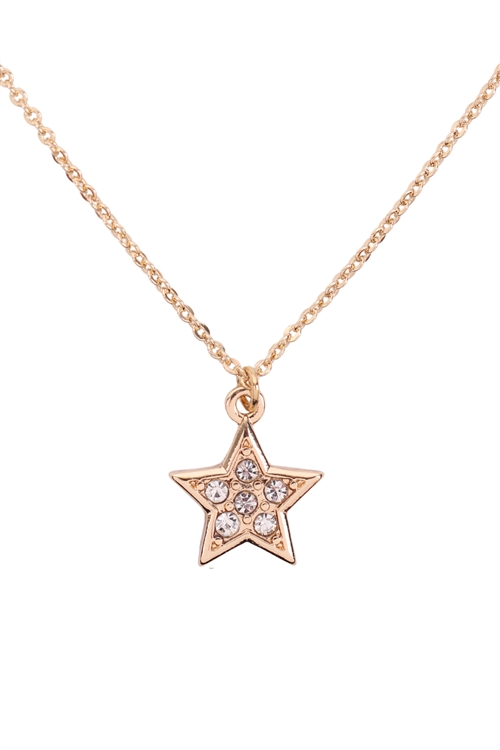 S1-7-2-17432CR-G - CUBIC ZIRCONIA STAR PENDANT NECKLACE - CRYSTAL GOLD/6PCS