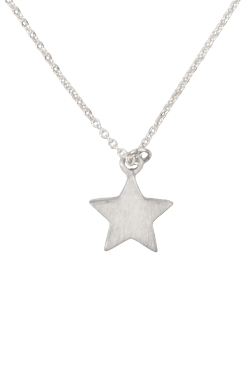 S1-7-2-17433MS - SIMPLE STAR PENDANT NECKLACE-MATTE SILVER/6PCS